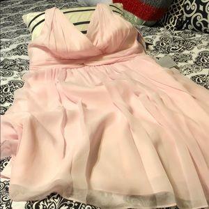 Donna Morgan baby pink chiffon cocktail dress 14